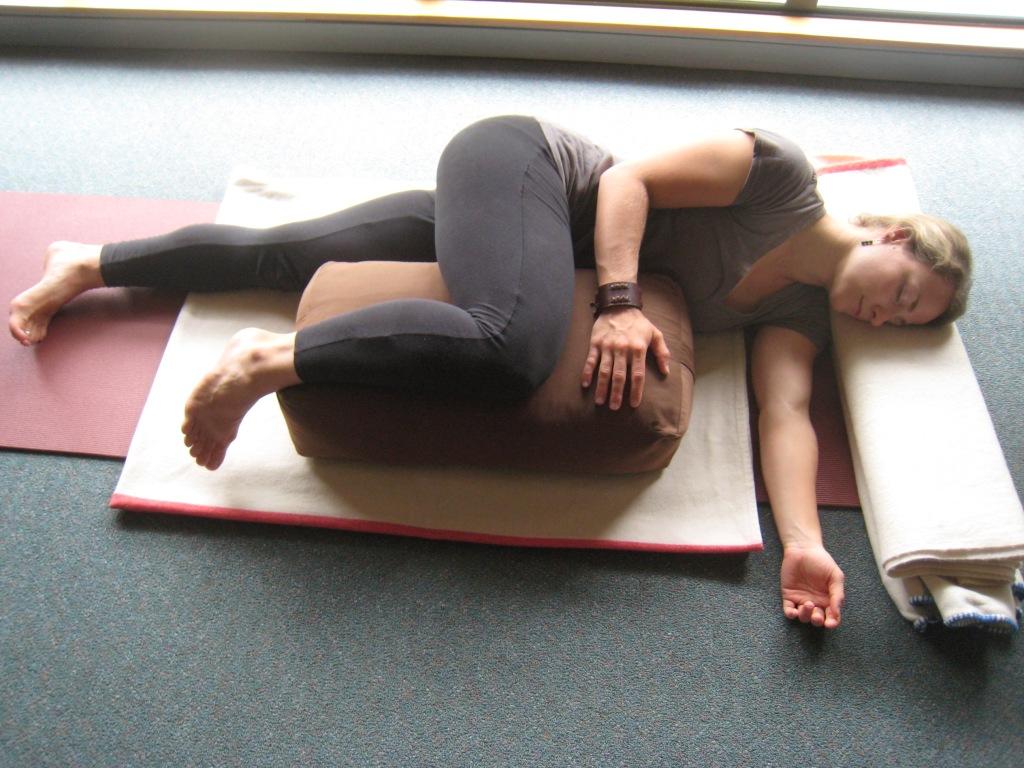 Restorative Yoga Supported Sidelying Posture